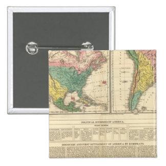 Descubrimiento europeo del mapa del atlas de Améri Pin Cuadrada 5 Cm