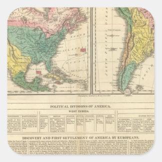 Descubrimiento europeo del mapa del atlas de pegatina cuadrada