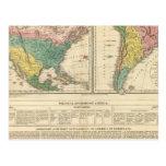 Descubrimiento europeo del mapa del atlas de tarjeta postal
