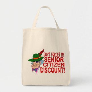 Descuento del jubilado bolsa tela para la compra