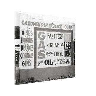 Descuento Liquor y Gasoline, 1939 Impresiones En Lona Estiradas