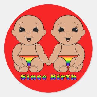 Desde el nacimiento 6r pegatina redonda