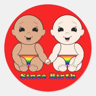 Desde el nacimiento 8r etiquetas redondas