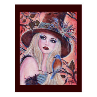 Desdemona Woodland Witch fantasy art by Renee Postcard