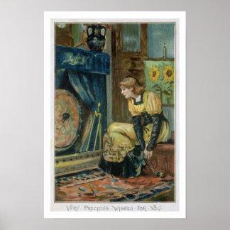 Desea muy muy para usted navidad del Victorian Impresiones