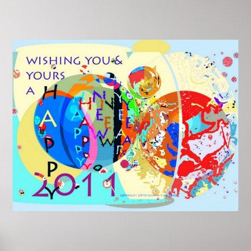 Deseando le y el suyo una Feliz Año Nuevo 2011 Posters