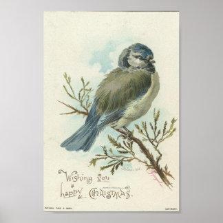 Deseándole Felices Navidad pájaro del azul del vi Posters