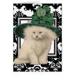 Deseándole Purrfectly un St Patrick delicioso Tarjeta De Felicitación