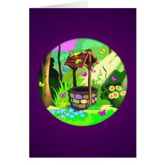 Desear púrpura mágica bien del bosque de la tarjeta de felicitación