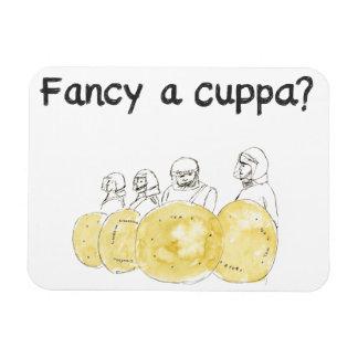 ¿Desee un cuppa? Imán divertido del refrigerador