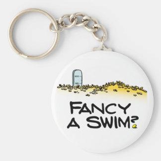¿Desee una nadada? Llavero Redondo Tipo Pin
