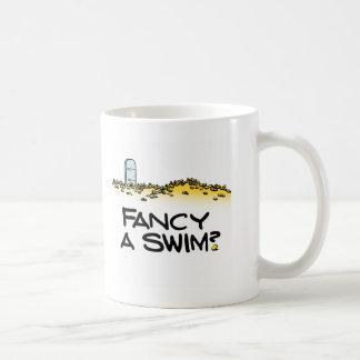¿Desee una nadada? Taza Básica Blanca