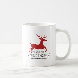 Deséele las Felices Navidad el | reno rojo Tazas De Café