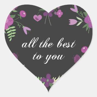 Deséele todo el mejor - estampado de flores pegatina en forma de corazón