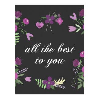 Deséele todo el mejor - estampado de flores plantillas de membrete