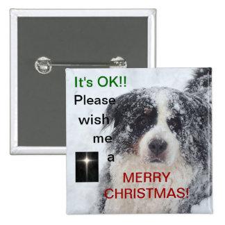 Deséeme un botón de las Felices Navidad con el per
