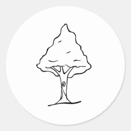 Desenho de árvore para imprimir e pintar pegatina redonda