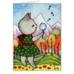 Deseo - arte caprichoso del gato tarjeta de felicitación