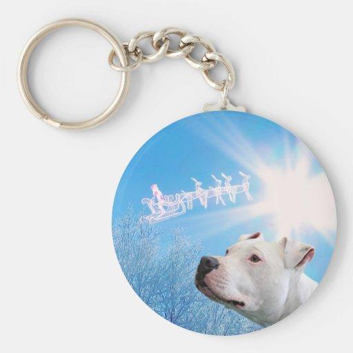 Deseo blanco del navidad del perro de PItbull Llavero Personalizado