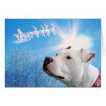 Deseo blanco del navidad del perro de Pitbull Tarjeta