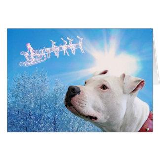 Deseo blanco del navidad del perro de Pitbull Tarjeta De Felicitación