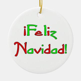 Deseo de Feliz Navidad Double-Sided Ceramic Round Christmas Ornament