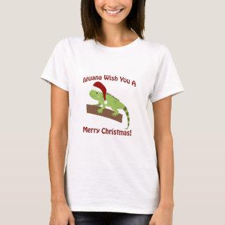 Deseo de la iguana usted Felices Navidad Playera