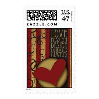 Deseo de la pasión del amor sello postal
