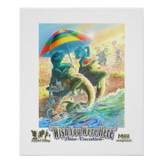Deseo de las vacaciones del dinosaurio usted estab póster