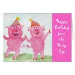 Deseo de los cerdos del fiesta usted feliz cumplea tarjetón