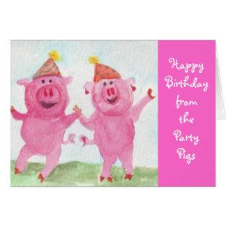 Deseo de los cerdos del fiesta usted feliz tarjeta de felicitación