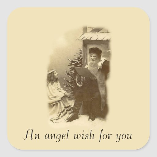 Deseo del ángel pegatinas cuadradases