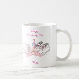 Deseo del bautizo de los chicas taza de café