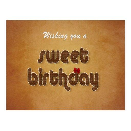 Deseo del cumpleaños del chocolate dulce - postal