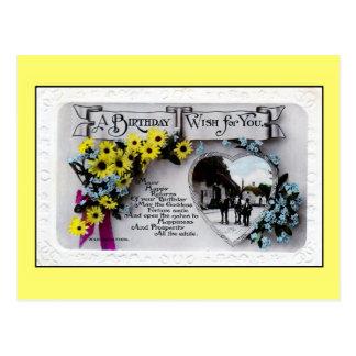 Deseo del cumpleaños del vintage para usted, tarjetas postales