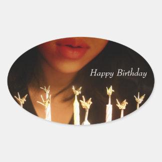 Deseo del cumpleaños pegatina ovalada