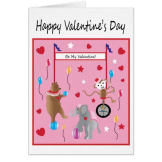 Deseo del el día de San Valentín del circo para Tarjeta De Felicitación