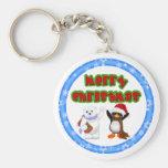 Deseo del navidad del pingüino y de los osos llaveros