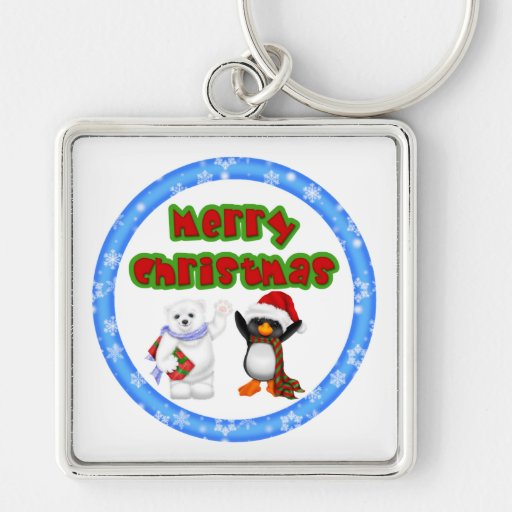 Deseo del navidad del pingüino y de los osos llaveros personalizados