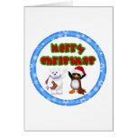 Deseo del navidad del pingüino y de los osos tarjeta de felicitación