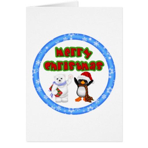 Deseo del navidad del pingüino y de los osos tarjeta