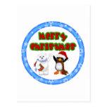 Deseo del navidad del pingüino y de los osos postal