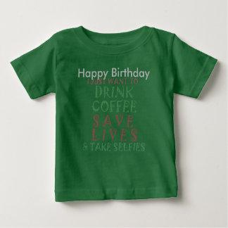 Deseo divertido del café del feliz cumpleaños polera