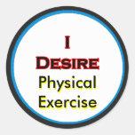 Deseo ejercicio físico etiqueta redonda