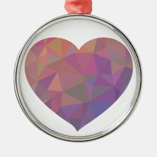 Deseo elegante rosado rojo poligonal de la violeta adorno redondo plateado