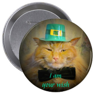 Deseo irlandés del gato del Leprechaun Pin Redondo De 4 Pulgadas