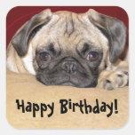 Deseo lindo del cumpleaños del perrito del barro a calcomanía cuadrada