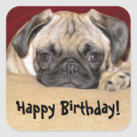 Deseo lindo del cumpleaños del perrito del barro calcomanía cuadrada