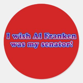 Deseo que el Al Franken fuera mi senador Etiquetas Redondas