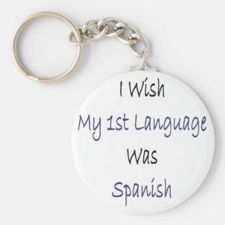 Deseo que mi 1ra lengua fuera español llavero redondo tipo pin